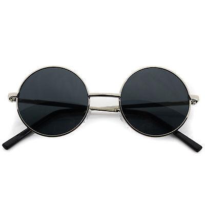 Small John Lennon Sunglasses Round Hippie Hipster Retro Silver Frame Black lens (Black Lennon Sunglasses)