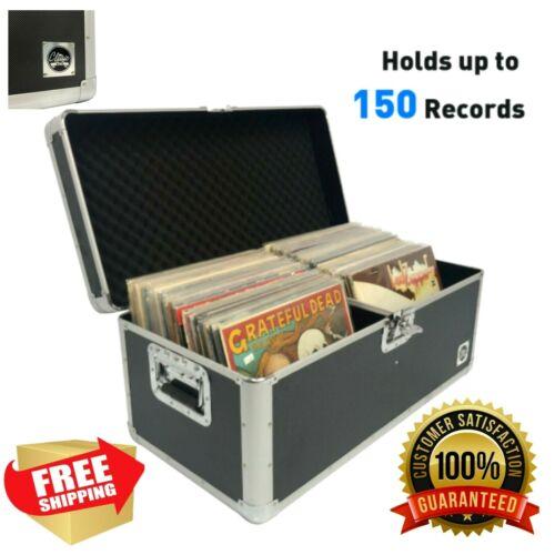 Vinyl Record Album Storage Box Case Aluminum Lp Crate Holds 150 Records Classic