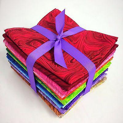 17 rainbow Swirl fat quarter pack pre cut  100% cotton fabric - Rainbow Swirl