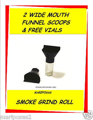 (2) WIDE MOUTH SCOOP SHOVELS FUNNELS SNUFF (4) FREE 1 DRAM  VIALS *FREE SHIP