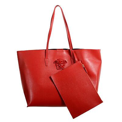 Versace Women's Red Saffiano Leather Medusa Tote Handbag Shoulder Bag