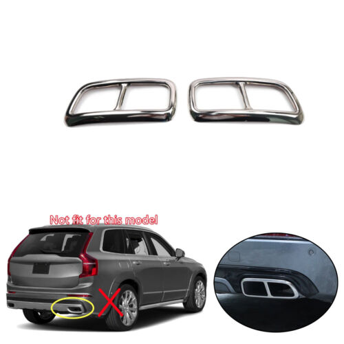 Rear End Tip Pipe Exhaust Muffler Cover Trim Steel 2pcs For Volvo XC90 2016-2018