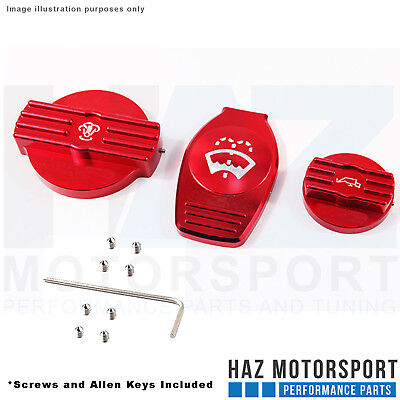 Billet Engine Bay Dress Up Kit Washer Bottle/Coolant/Oil Filler Cap Cover Red G3