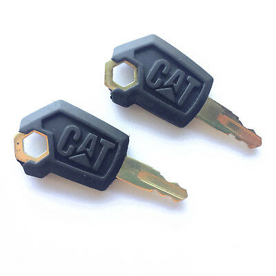 2 Caterpillar Heavy Equipment Ignition Keys - Cat 5p8500 - New Style Logo