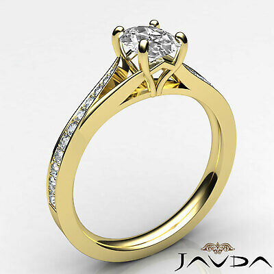 Cathedral Split Shank Pave Oval Diamond Engagement Ring GIA E Color VS2 0.85 Ct 7