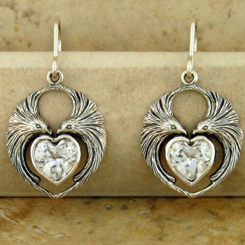 LOVEBIRD EARRINGS HEART SHAPED CZ 925 STERLING SILVER ANTIQUE STYLE,    #945