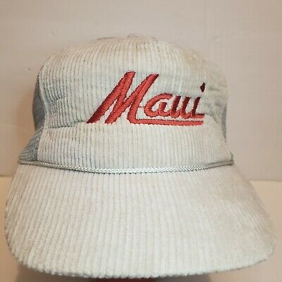 Vintage 80s Mesh Foam Corduroy Trucker Hat Snapback Cap Spellout Light Gray