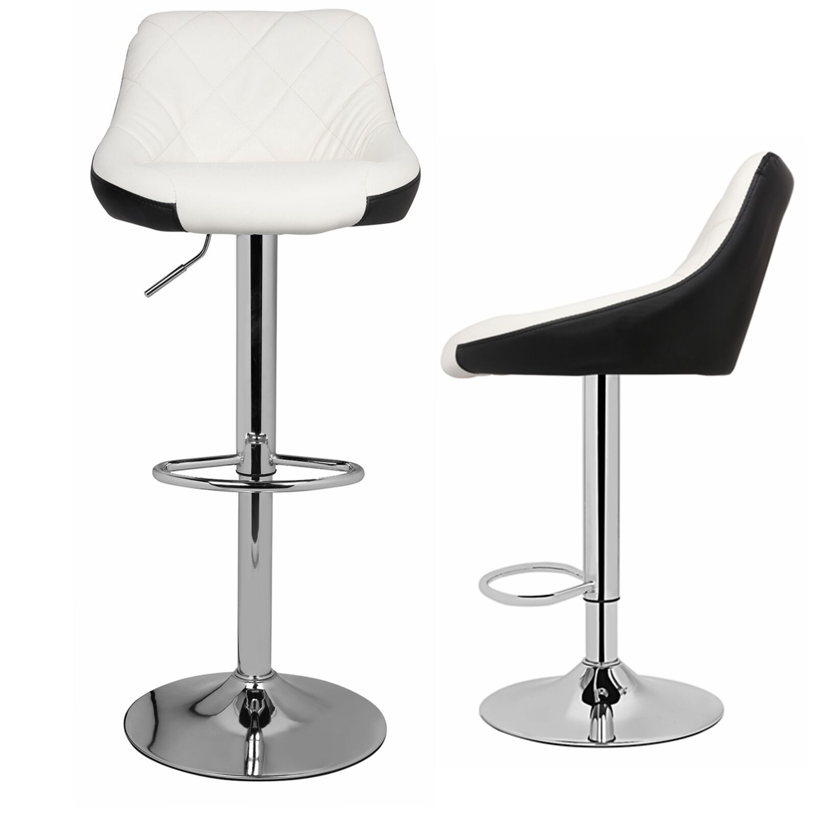 Model Mix Black & White Bar Stool Chair Adjustable Home Coun