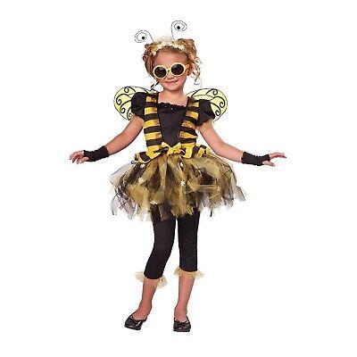 Girls Honey Bee Dress Tutu Wings Glasses Halloween Costume Child XS 4/6 M 8/10](Bee Costumes For Girls)
