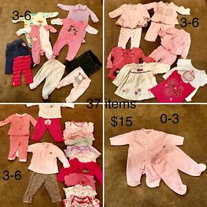 3-6 mos girl clothes (2 items 0-3) (37 items)