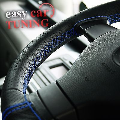 FOR PEUGEOT 308  BLACK PERFORATED REAL ITALIAN LEATHER STEERING WHEEL COVER BLUE
