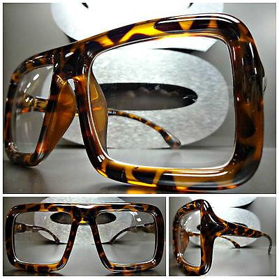 Men's Women LARGE VINTAGE RETRO Style NERD CLEAR LENS EYE GLASSES Tortoise (Tortoise Nerd Glasses)