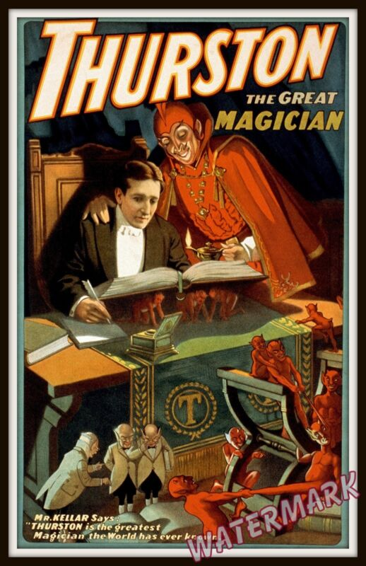 Wall Art of Magician Thurston with the Devil Magic Poster  Year 1910  11x17