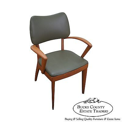 Heywood Wakefield Mid Century Modern Champagne Finished Dining Arm Chair