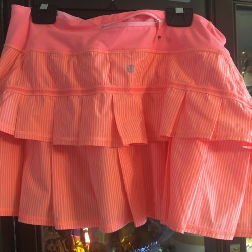 Lululemon Pace Setter Skirt Sz 10 Bleached Coral Wagon Striped Pop Orange