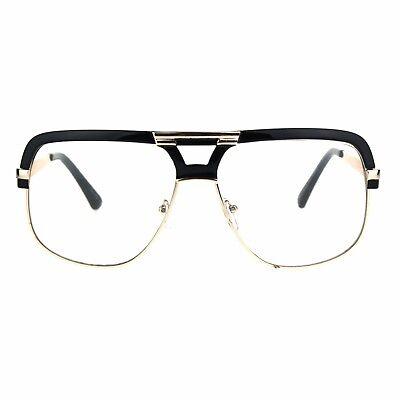 Mens Clear Lens Glasses Flat Top Square Designer Fashion (Top Designer Glasses)