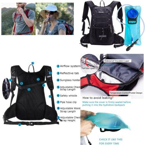 New Hydration Backpack with 2L Water Bladder Backpack Outdoor Hiking Camping Bag