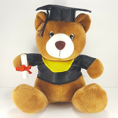 Brown Bear Black Graduation Hat Tassel Shirt Plush Stuffed Animal Diploma Soft  Graduation Soft Bear