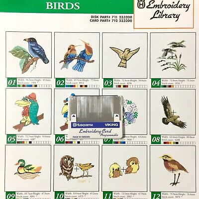 Birds Embroidery Designs Card  For Husqvarna Viking Sewing -