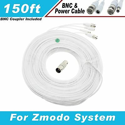 New High Quality White 150FT Thick BNC EXTENSION CABLES For Zmodo Systems