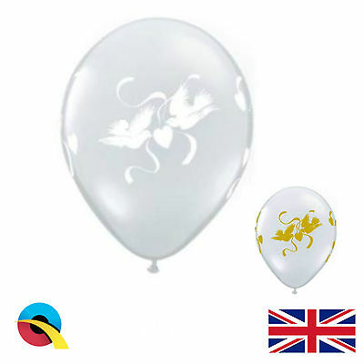 """Qualatex Love Doves 11"""" 16"""" White / Gold and Diamond Clear Wedding Balloons"""