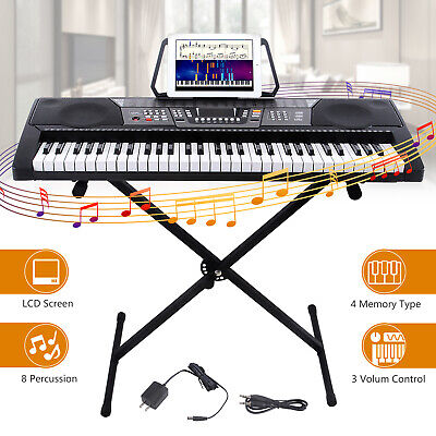 Black 61 Key Music Digital Electronic Keyboard Electric Piano Organ with X Stand