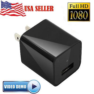 New 8GB 1080P Mini Real AC adapter US plug Charger Hidden Spy USB Camera