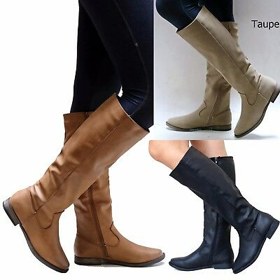 New Women BPm Tan Taupe Black Western Knee High Riding Boots 6 to 11