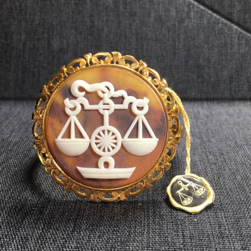 Vintage Bracelet Clamper Cuff Cameo Libra - Zodiac Astrology