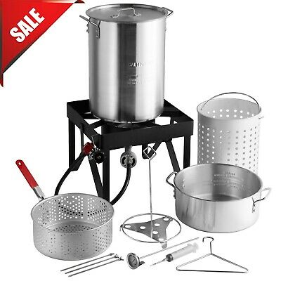 30 Qt. Turkey Fryer Kit Deep Alluminum Steamer Pot BTU Burne