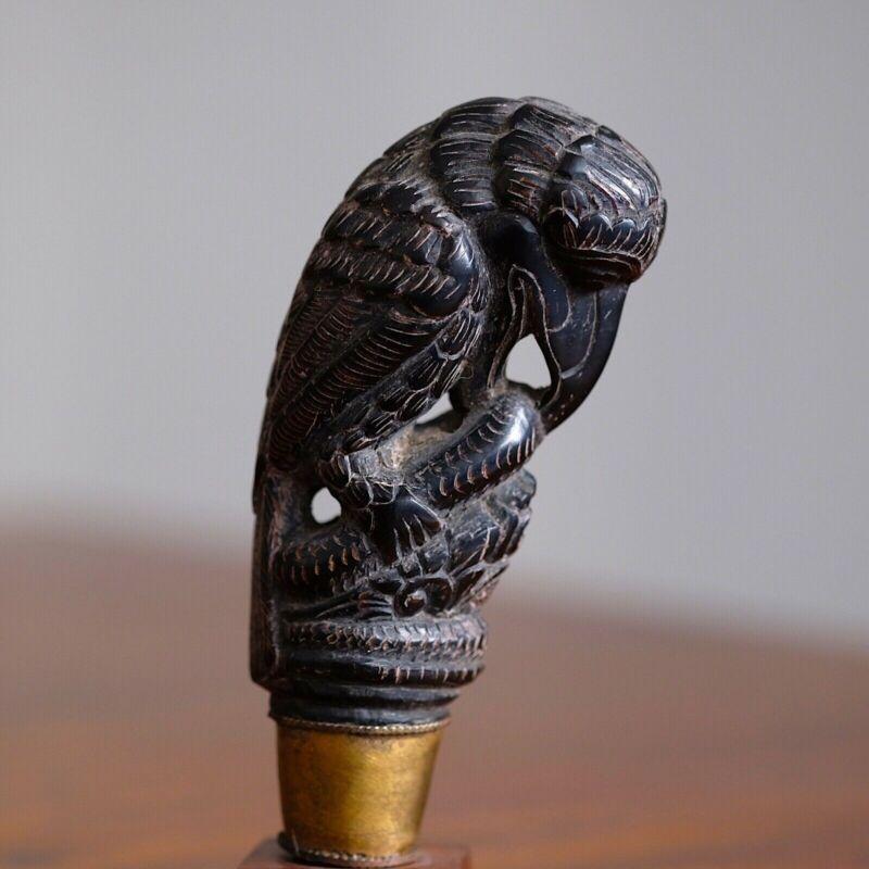 KRIS KERA SWORD DAGGER HANDLE INDONESIA WOOD DESIGN BIRD EATING SNAKE TALL