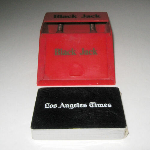 Vintage Red Black Jack 21 Card Dealer Shoe Dispenser Deck L.A. Times Cards