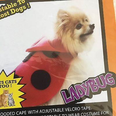 Pet Halloween Costume Lady Bug Dog or Cat Red & Black Polka Dot Parade Small New (Cat Lady Halloween Costume)