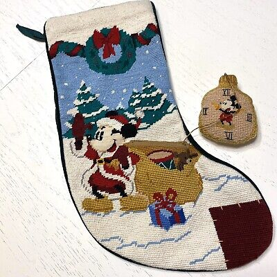 """Needlepoint Disney Christmas Stocking Mickey Mouse Pocket Watch 19"""" lined"""