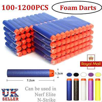 100/1200 For Nerf Gun Soft Refill Bullets Darts Round Head Blasters N-Strike Toy