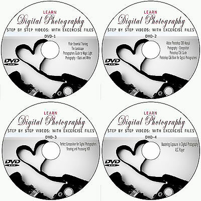 LEARN DIGITAL PHOTOGRAPHY CAMERA TRAINING 4 DVD VIDEO TUTORIALS GUIDE+PHOTOS​HOP