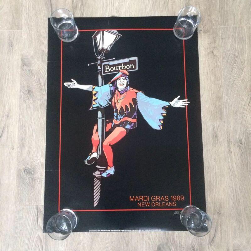 """Vintage 1989 Ron Picou Jester Mardi Gras Magic poster 32 x 23"""" New Orleans"""