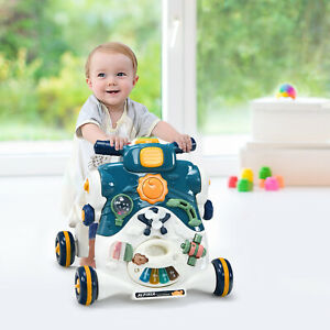 3-in-1 Baby Walker Kid Toddler Learning First Step Push Ride-On Car Blue W/Music