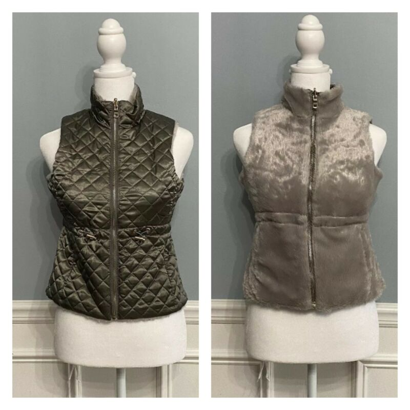 Youth Girls Reversible Jacket Vest Faux Fur Quilted Gray Size Small S