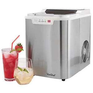 VonShef Electrical Ice Cube Maker Compact Counter Top Ice Machine 12KG in 24hrs