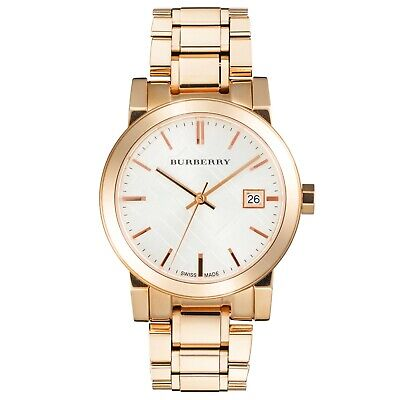 New Burberry Ladies city watch with rose gold strap & case Swiss Movement BU9104