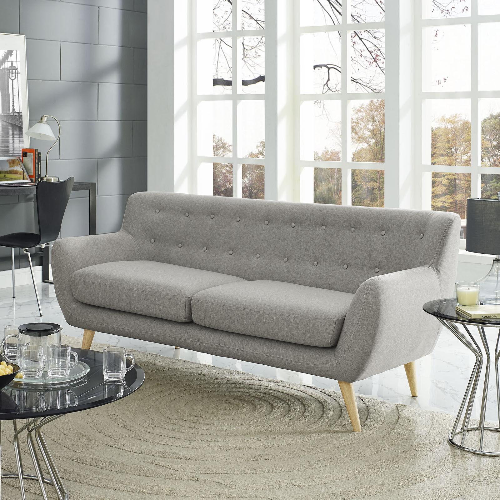 Mid-Century Modern Tufted Light Gray Upholstered Fabric Living ...
