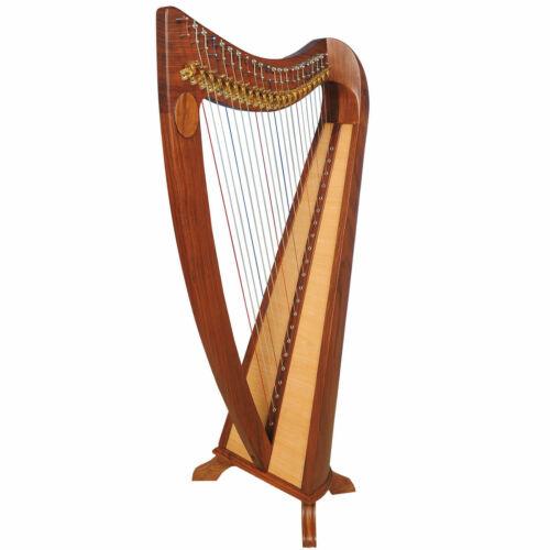 22 String Claddagh Harp Walnut, Irish Lever Harp, Celtic Irish Harp