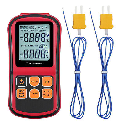 Digital Lcd Dual Channel Temperature Meter Thermometer 2 K-type Thermocouple