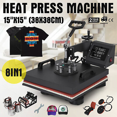 8 In 1 15x15 Heat Press Machine For T-shirts Combo Kit Sublimation Swing Away