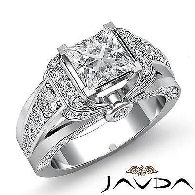 Knot Style Pave Bezel Set Princess Cut Diamond Engagement Ring GIA G VS2 2.35Ct