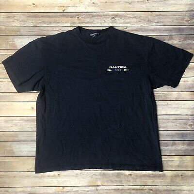 Nautica Crew Performance Made In USA T Shirt Blue Back Lettering Mens Size XL