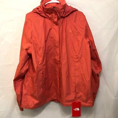NWT The North Face Women's Resolve 2 Spiced Coral Waterproof Hooded Jacket 2XL