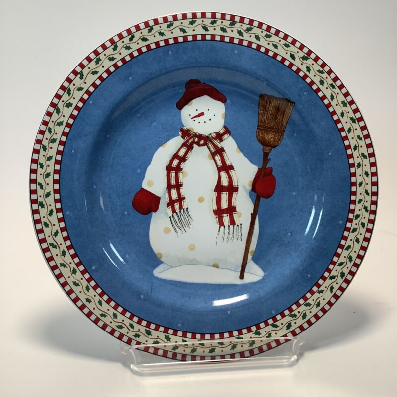 Sakura Debbie Mumm Snowman Salad Dessert Plate Dish Christmas Holiday