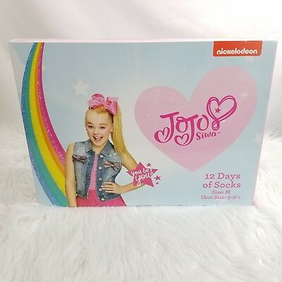 JoJo Siwa 12 Days Of Socks Christmas Advent Box M Girls Shoe Size 9 to 2 1/2